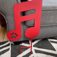 Red Batavia Music Note Yard Sign